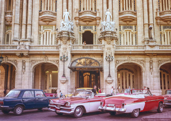 Photograph - Vintage Cars And The Grand Theatre Havana Cuba Lomo by Joan Carroll