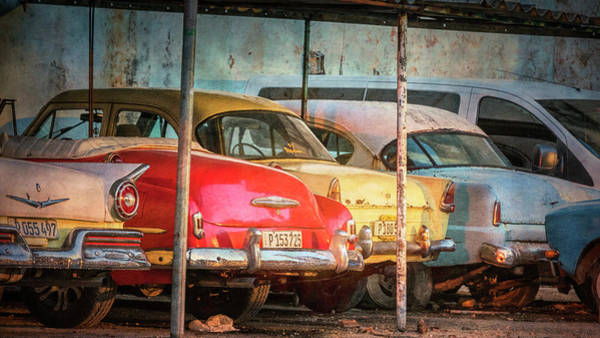 Photograph - Vintage Cars At Night by Joan Carroll