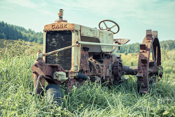 Photograph - Vintage Case Farm Tractor Montpelier Vermont by Edward Fielding