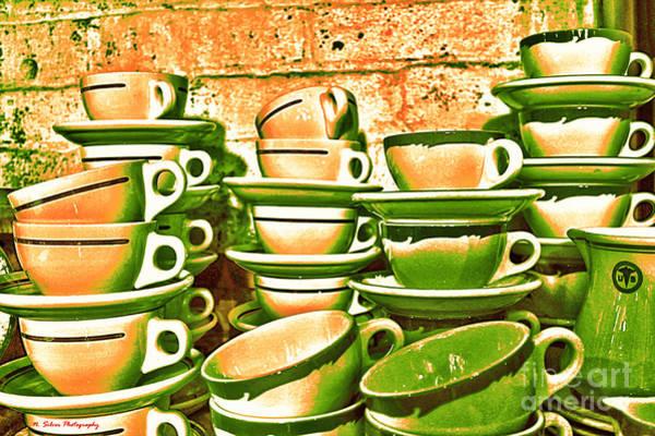 Cellar Digital Art - Vintage Cellar Tea Cups Painterly by Nina Silver