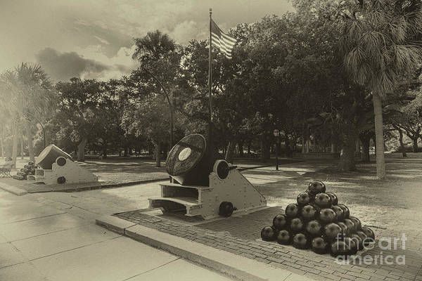 Photograph - Vintage Charleston Battery Park  by Dale Powell