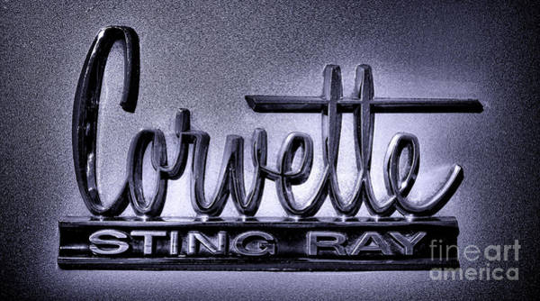 Wall Art - Photograph - Vintage Chevrolet Corvette Sting Ray Badge by Olivier Le Queinec