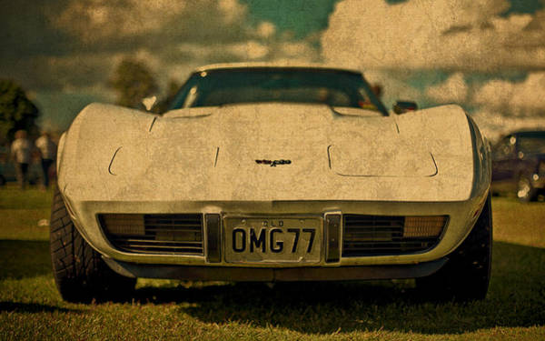 Front Mixed Media - Vintage Chevy Corvette Front View License Plate by Design Turnpike