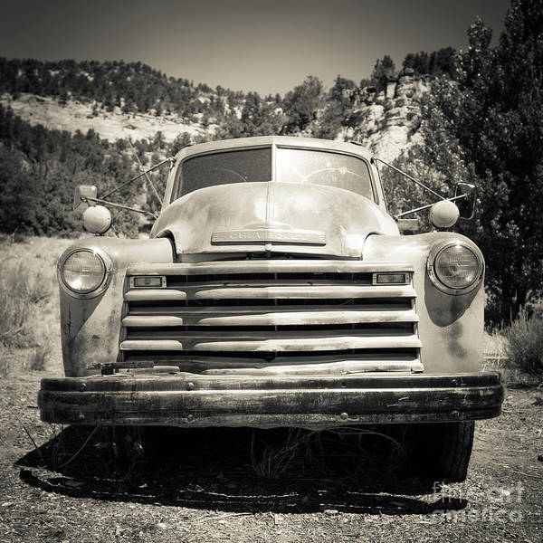 Wall Art - Photograph - Vintage Chevy Pickup Truck Outside Of Zion by Edward Fielding