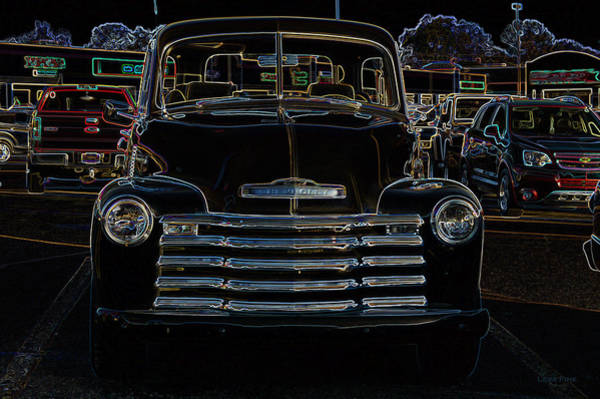 Digital Art - Vintage Chevy Truck Neon Art by Lesa Fine
