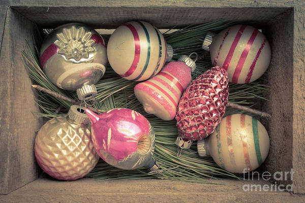 Wall Art - Photograph - Vintage Christmas Baubles Ornaments by Edward Fielding