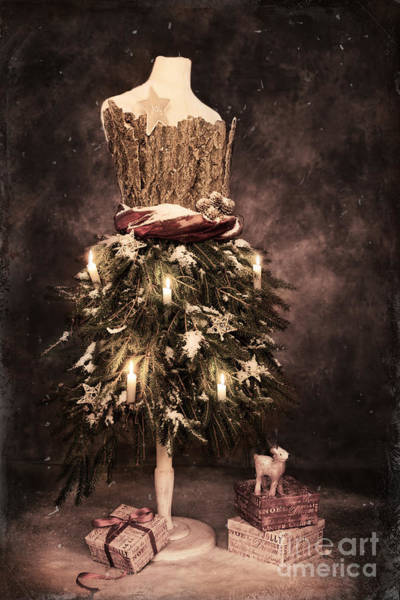 Dress Form Photograph - Vintage Christmas Card by Amanda Elwell