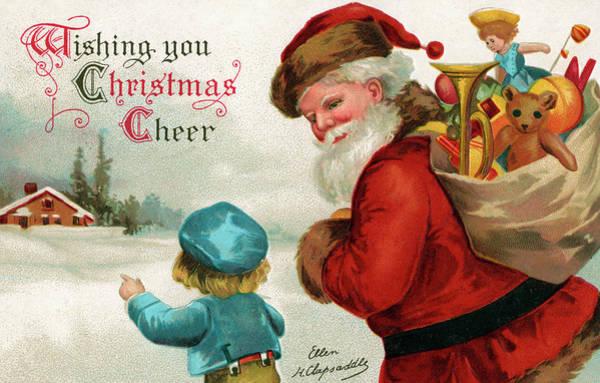 St Nicholas Painting - Vintage Christmas Card by Ellen Hattie Clapsaddle