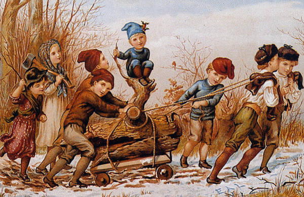 Yule Painting - Vintage Christmas Card by English School