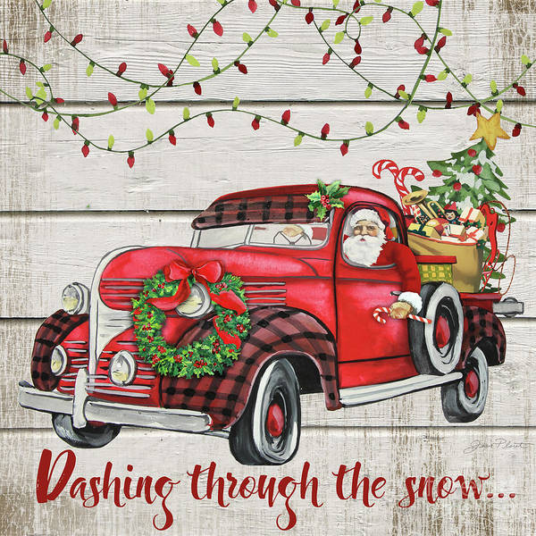 Wall Art - Painting - Vintage Christmas Truck-d by Jean Plout