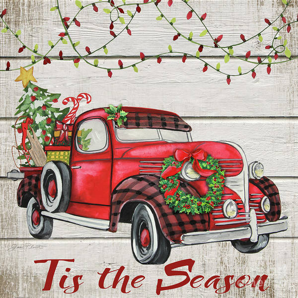 Wall Art - Painting - Vintage Christmas Truck-f by Jean Plout