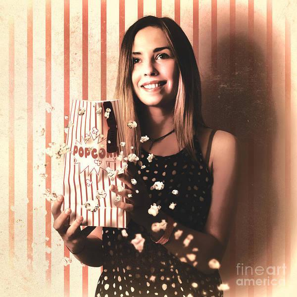 Wall Art - Photograph - Vintage Cinema Girl With Movie Popcorn. Retro Film by Jorgo Photography - Wall Art Gallery