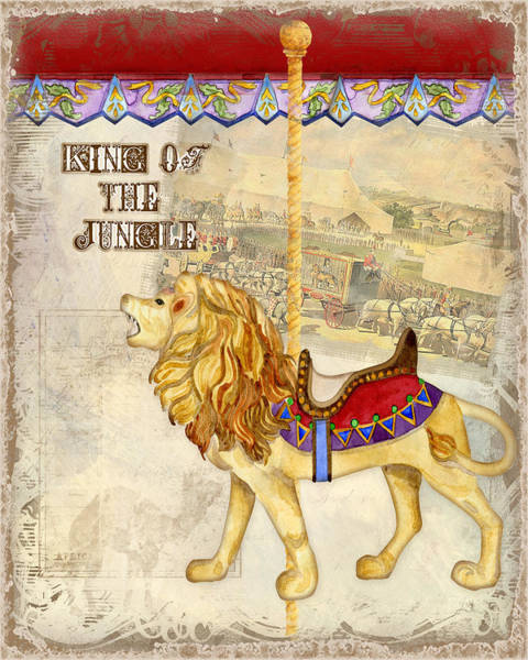 Ring Painting - Vintage Circus Carousel - Roaring Lion by Audrey Jeanne Roberts