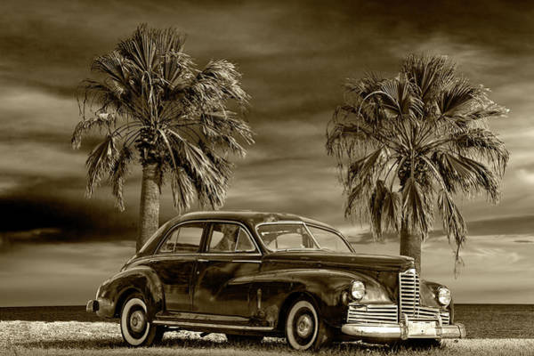 Photograph - Vintage Classic Automobile In Sepia Tone With Palm Trees by Randall Nyhof
