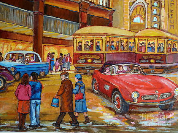 Painting - Vintage Classic Cars  Red Convertible Downtown Traffic Montreal Canadian Art Carole Spandau          by Carole Spandau