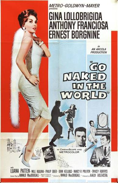 Gina Wall Art - Painting - Vintage Classic Movie Posters, Go Naked In The World by Esoterica Art Agency