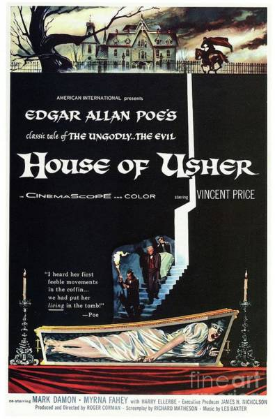 Wall Art - Painting - Vintage Classic Movie Posters, House Of Usher by Esoterica Art Agency