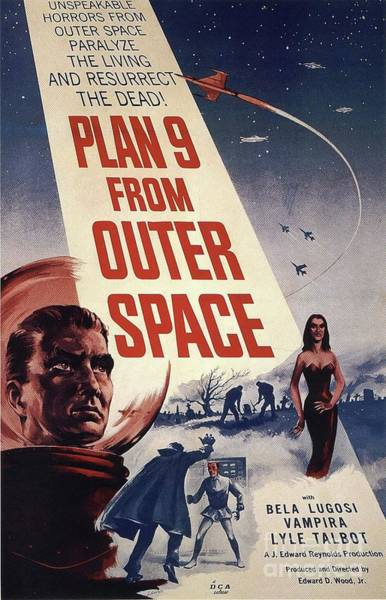 Wall Art - Painting - Vintage Classic Movie Posters, Plan 9 From Outer Space by Esoterica Art Agency