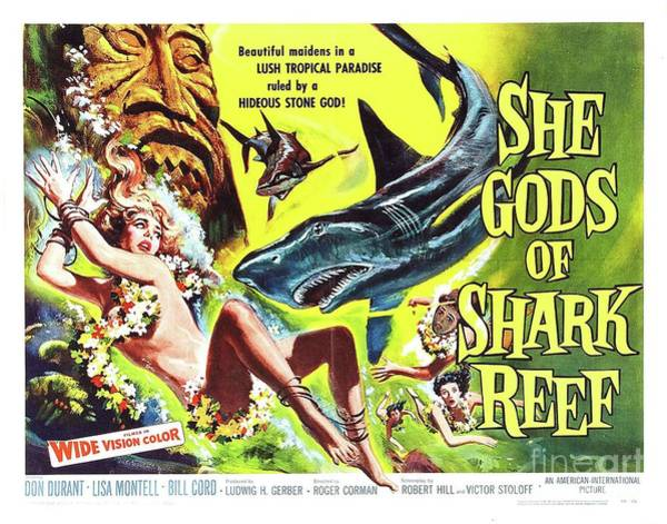 She Painting - Vintage Classic Movie Posters, She Gods Of Shark Reef by Esoterica Art Agency