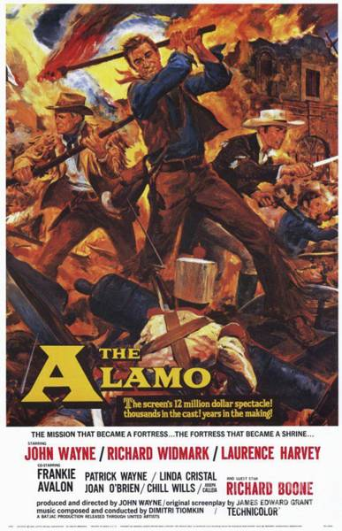 Wall Art - Painting - Vintage Classic Movie Posters, The Alamo by Esoterica Art Agency