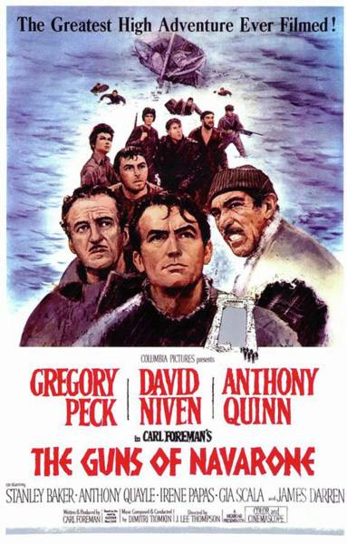 Peck Wall Art - Painting - Vintage Classic Movie Posters, The Guns Of Navarone by Esoterica Art Agency