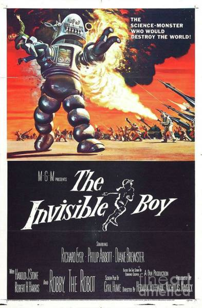 Wall Art - Painting - Vintage Classic Movie Posters, The Invisible Boy by Esoterica Art Agency