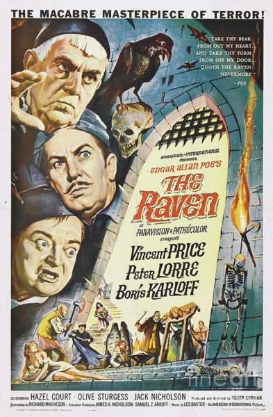 Poe Wall Art - Painting - Vintage Classic Movie Posters, The Raven by Esoterica Art Agency