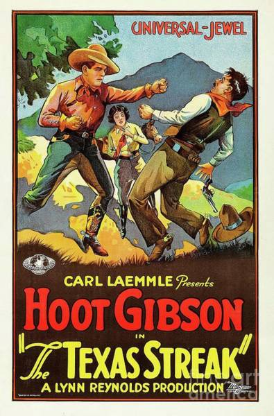 Hoot Wall Art - Painting - Vintage Classic Movie Posters, The Texas Streak by Esoterica Art Agency