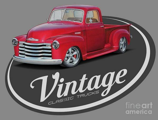 Wall Art - Digital Art - Vintage Classic Trucks by Paul Kuras