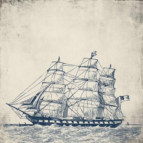 Wall Art - Digital Art - Vintage Clipper Ship V1 by Brandi Fitzgerald
