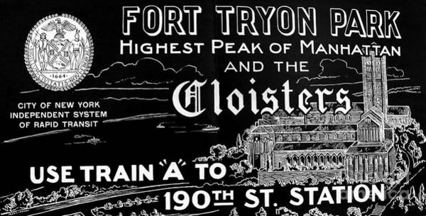 Vintage Cloisters And Fort Tryon Park Poster Art Print