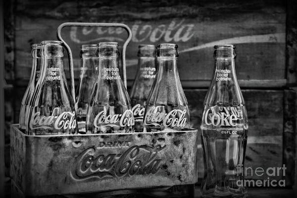 Wall Art - Photograph - Vintage Coca Cola Metal Carrier In Black And White by Paul Ward