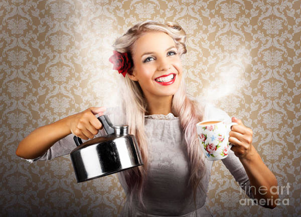 Photograph - Vintage Coffee Woman Holding Hot Tea Pot by Jorgo Photography - Wall Art Gallery