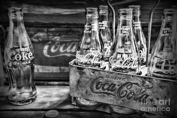 Wall Art - Photograph - Vintage Coke Metal Six Pack Carrier In Black And White by Paul Ward