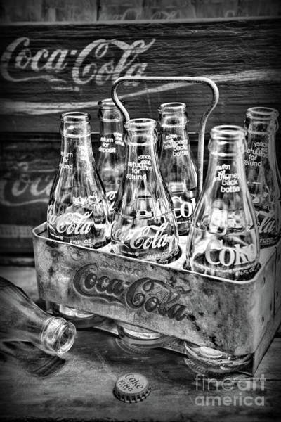 Wall Art - Photograph - Vintage Coke Six Pack Carrier In Black And White by Paul Ward