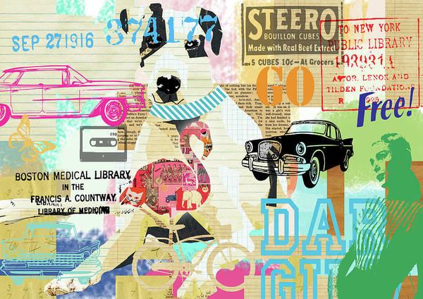 Dane Mixed Media - Vintage Collage Dane by Claudia Schoen