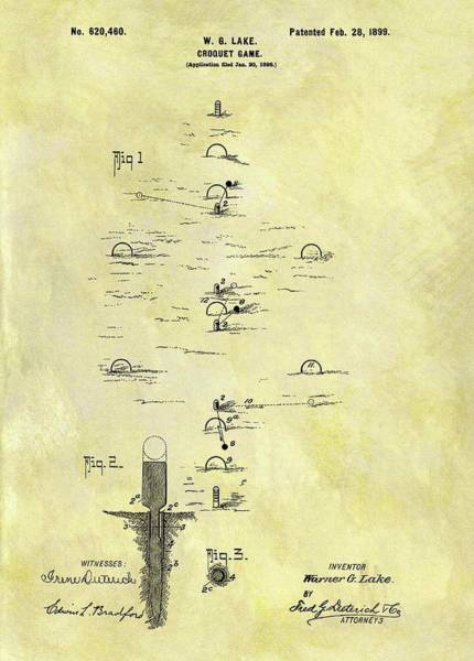 Wall Art - Drawing - Vintage Croquet Patent by Dan Sproul