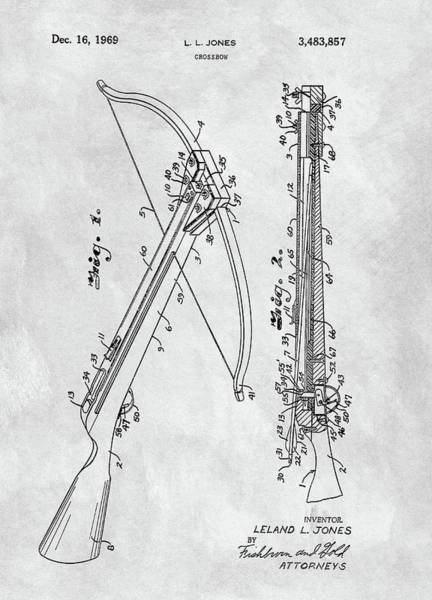 Drawing - Vintage Crossbow Patent by Dan Sproul