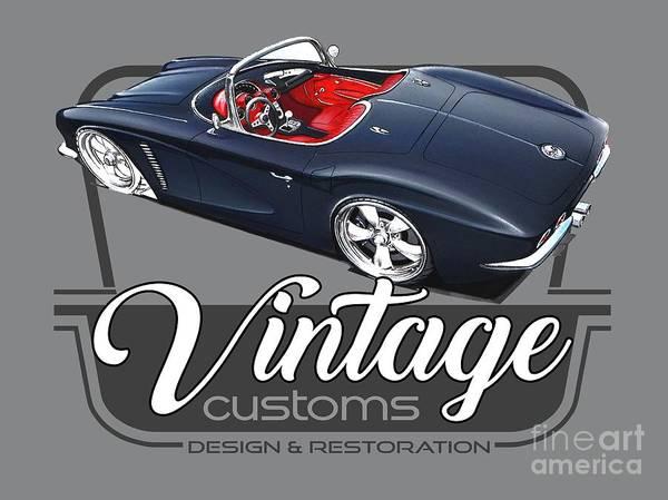 Wall Art - Digital Art - Vintage Customs Corvette by Paul Kuras