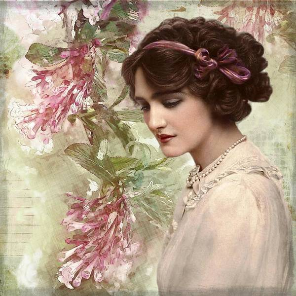 Mixed Media - Vintage Debutante Lady  by Joy of Life Art Gallery