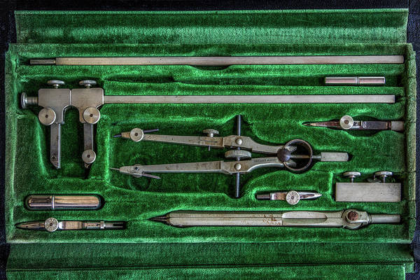 Drafting Photograph - Vintage Dietzgen Drafting Set by Mike Burgquist