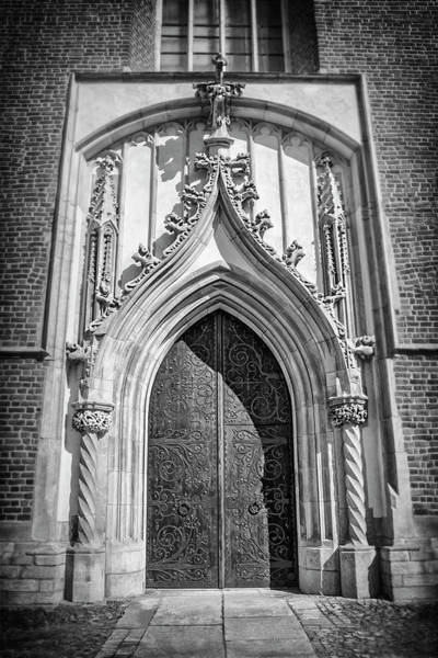 Wall Art - Photograph - Vintage Door Wroclaw Poland In Black And White by Carol Japp