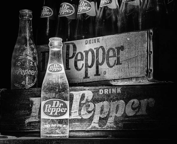 Photograph - Vintage Dr Pepper In Black And White by JC Findley