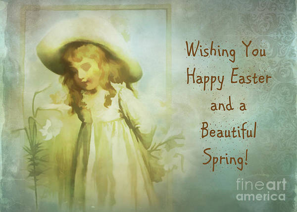 Digital Art - Vintage Easter Card 2016 by Kathryn Strick