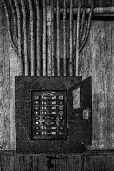Photograph - Vintage Electric Panel Bw by Susan Candelario