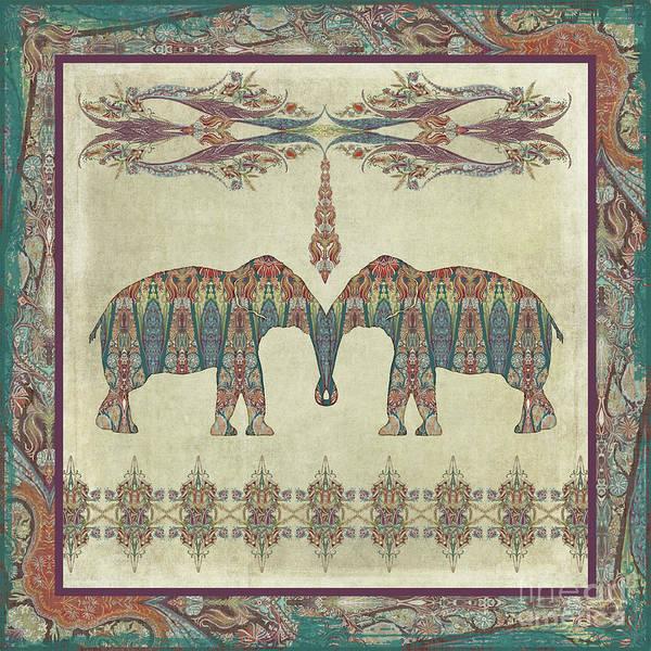 Wall Art - Painting - Vintage Elephants Kashmir Paisley Shawl Pattern Artwork by Audrey Jeanne Roberts