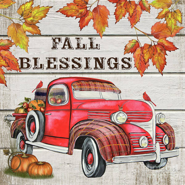 Wall Art - Painting - Vintage Fall Truck-a by Jean Plout