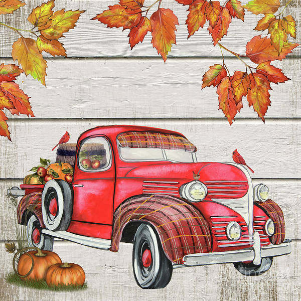 Wall Art - Painting - Vintage Fall Truck-b by Jean Plout