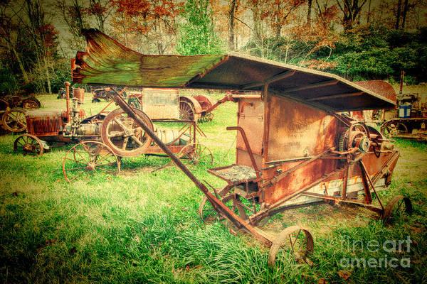 Vintage Tractor Painting - Vintage Farm Equipment In Field by Dan Carmichael