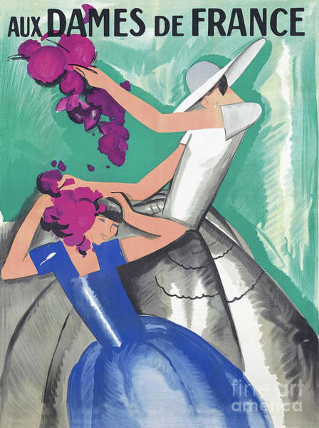 Wall Art - Painting - Vintage Fashion Art, Two Women With Abstract Flowers by Tina Lavoie